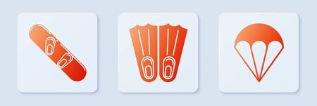 Set Rubber flippers for swimming, Snowboard and Parachute. White square button. Vector