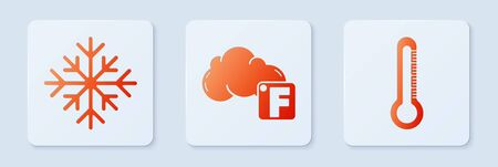 Set Fahrenheit and cloud, Snowflake and Thermometer. White square button. Vector