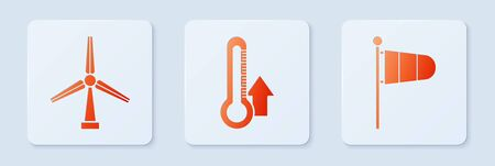 Set Thermometer, Wind turbine and Cone meteorology windsock wind vane. White square button. Vector