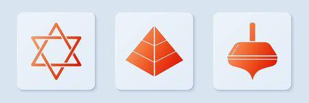 Set Egypt pyramids, Star of David and Hanukkah dreidel. White square button. Vector