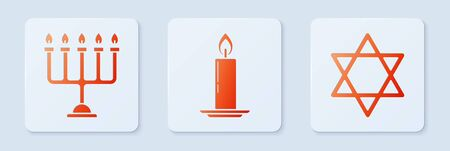 Set Burning candle in candlestick, Hanukkah menorah and Star of David. White square button. Vector