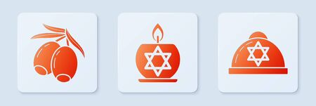 Set Burning candle in candlestick with star of david, Olives branch and Jewish kippah with star of david. White square button. Vector Ilustração