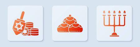 Set Jewish sweet bakery, Hanukkah dreidel and coin and Hanukkah menorah. White square button. Vector Ilustração