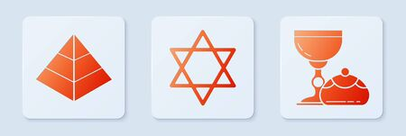 Set Star of David, Egypt pyramids and Jewish goblet and hanukkah sufganiyot. White square button. Vector Ilustrace