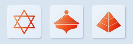 Set Hanukkah dreidel, Star of David and Egypt pyramids. White square button. Vector Ilustrace