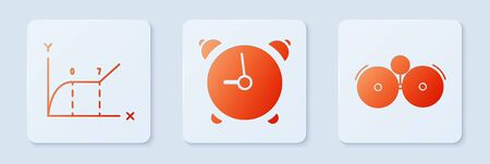Set Alarm clock, Pie chart infographic and Ringing alarm bell. White square button. Vector