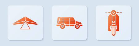 Set Off road car, Hang glider and Scooter. White square button. Vector Ilustracja