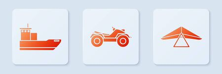 Set All Terrain Vehicle or ATV motorcycle, Cargo ship and Hang glider. White square button. Vector 일러스트