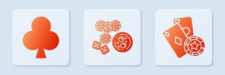 Set Casino chips, game dice and glass of whiskey with ice cubes, Playing card with clubs symbol and Casino chip and playing cards. White square button. Vector 向量圖像