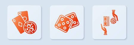 Set Game dice, Playing cards and glass of whiskey with ice cubes and Casino chips exchange on stacks of dollars. White square button. Vector 向量圖像