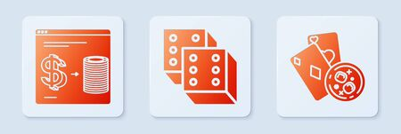 Set Game dice, Online casino chips exchange on stacks of dollars and Playing cards and glass of whiskey with ice cubes. White square button. Vector