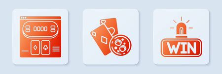 Set Playing cards and glass of whiskey with ice cubes, Online poker table game and Casino win. White square button. Vector