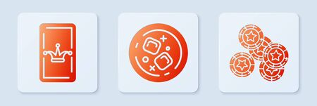 Set Glass of whiskey and ice cubes, Joker playing card and Casino chips. White square button. Vector
