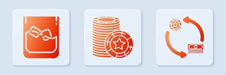 Set Casino chips, Glass of whiskey and ice cubes and Casino chips exchange on stacks of dollars. White square button. Vector 向量圖像