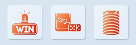 Set Game dice and glass of whiskey with ice cubes, Casino win and Casino chips. White square button. Vector 向量圖像