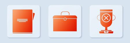 Set Briefcase, Notebook and Award cup. White square button. Vector