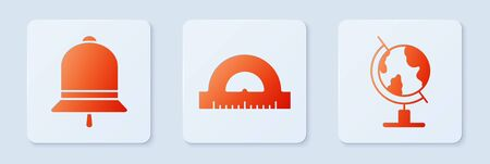 Set Protractor grid for measuring degrees, Ringing bell and Earth globe. White square button. Vector  イラスト・ベクター素材