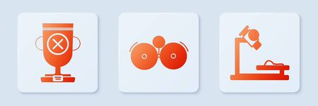 Set Ringing alarm bell, Award cup and Microscope. White square button. Vector  イラスト・ベクター素材