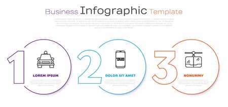 Set line Taxi car, Taxi call telephone service and Cable car. Business infographic template. Vector