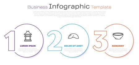 Set line Japan Gate, Chinese fortune cookie and Bowl of hot soup. Business infographic template. Vector