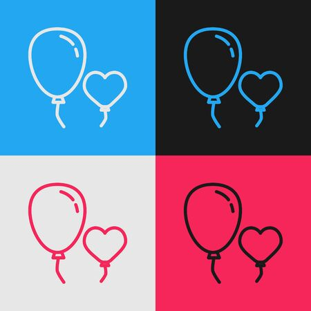 Color line Balloons in form of heart with ribbon icon isolated on color background. Vintage style drawing. Vector Illustration Ilustrace