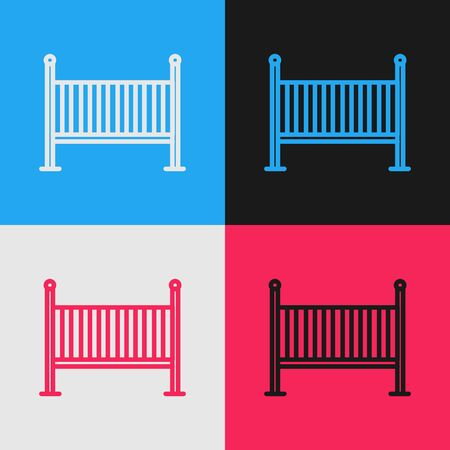 Color line Baby crib cradle bed icon isolated on color background. Vintage style drawing. Vector Illustration