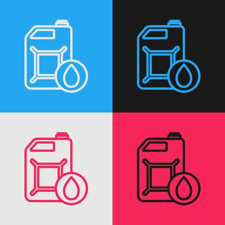 Color line Plastic canister for motor machine oil icon isolated on color background. Oil gallon. Oil change service and repair. Vintage style drawing. Vector Illustration