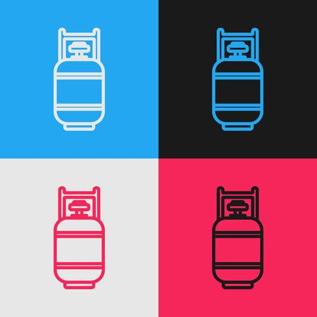 Color line Propane gas tank icon isolated on color background. Flammable gas tank icon. Vintage style drawing. Vector Illustration Ilustracja
