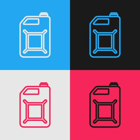 Color line Canister for gasoline icon isolated on color background. Diesel gas icon. Vintage style drawing. Vector Illustration