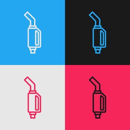 Color line Gasoline pump nozzle icon isolated on color background. Fuel pump petrol station. Refuel service sign. Gas station icon. Vintage style drawing. Vector Illustration