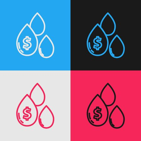Color line Oil drop with dollar symbol icon isolated on color background. Vintage style drawing. Vector Illustration Ilustracja