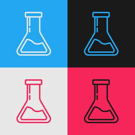 Color line Test tube and flask - chemical laboratory test icon isolated on color background. Laboratory glassware sign. Vintage style drawing. Vector Illustration