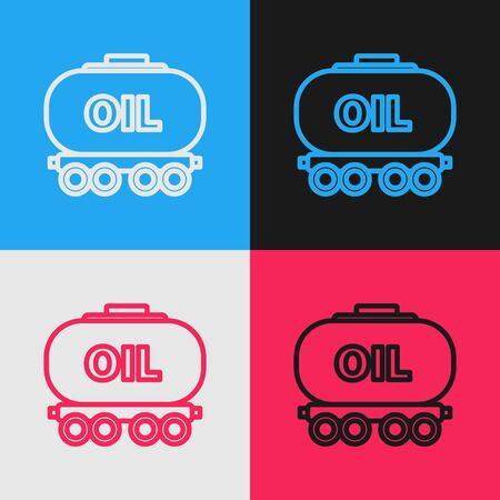 Color line Oil railway cistern icon isolated on color background. Train oil tank on railway car. Rail freight. Oil industry. Vintage style drawing. Vector Illustration Ilustracja
