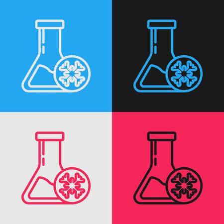Color line Antifreeze test tube icon isolated on color background. Auto service. Car repair. Vintage style drawing. Vector Illustration