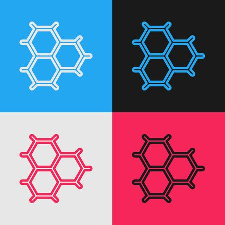 Color line Chemical formula consisting of benzene rings icon isolated on color background. Vintage style drawing. Vector Illustration