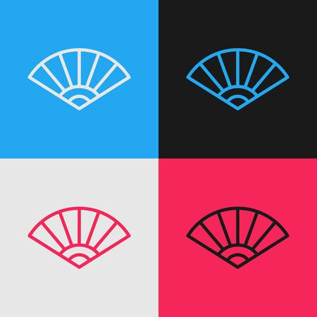 Color line Traditional paper chinese or japanese folding fan icon isolated on color background. Vintage style drawing. Vector Illustration