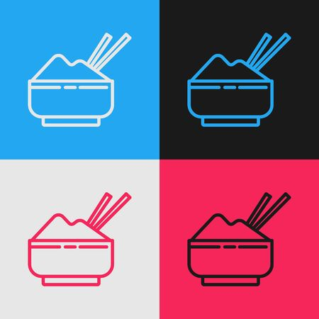Color line Rice in a bowl with chopstick icon isolated on color background. Traditional Asian food. Vintage style drawing. Vector Illustration 스톡 콘텐츠 - 139728233