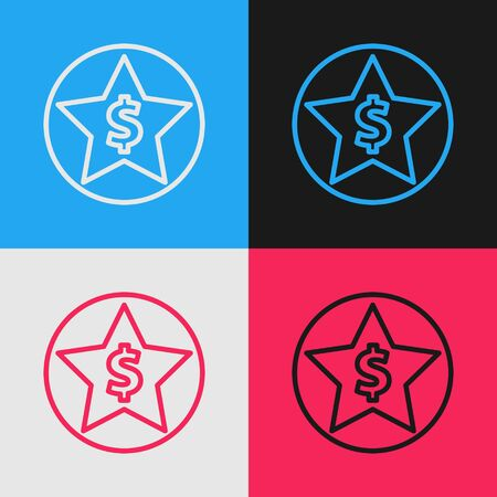Color line Star and dollar icon isolated on color background. Favorite, best rating, award symbol. Vintage style drawing. Vector Illustration