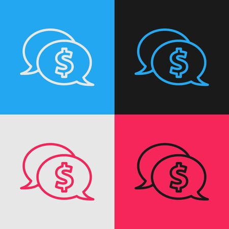 Color line Speech bubble with dollar icon isolated on color background. Badge for price. Sale with dollar symbol. Promo tag discount. Vintage style drawing. Vector Illustration