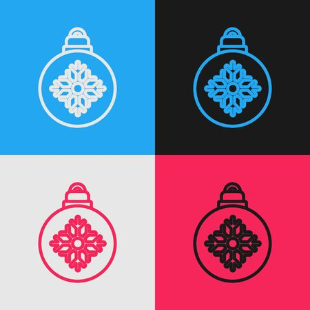 Color line Christmas ball icon isolated on color background. Merry Christmas and Happy New Year. Vintage style drawing. Vector Illustration