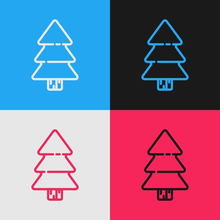 Color line Christmas tree icon isolated on color background. Merry Christmas and Happy New Year. Vintage style drawing. Vector Illustration