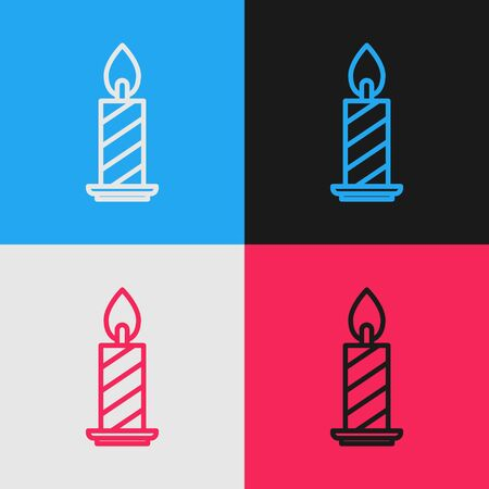 Color line Burning candle in candlestick icon isolated on color background. Cylindrical candle stick with burning flame. Vintage style drawing. Vector Illustration