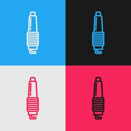 Color line Car spark plug icon isolated on color background. Car electric candle. Vintage style drawing. Vector Illustration