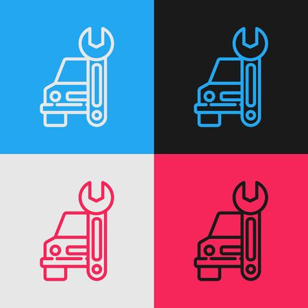 Color line Car service icon isolated on color background. Auto mechanic service. Repair service auto mechanic. Maintenance sign. Vintage style drawing. Vector Illustration  イラスト・ベクター素材