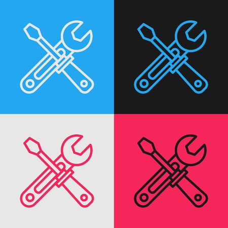 Color line Screwdriver and wrench tools icon isolated on color background. Service tool symbol. Vintage style drawing. Vector Illustration