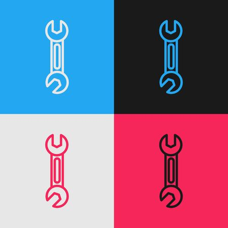 Color line Wrench icon isolated on color background. Spanner icon. Vintage style drawing. Vector Illustration