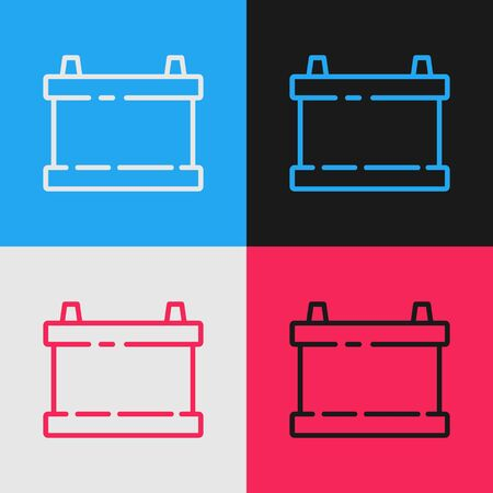 Color line Car battery icon isolated on color background. Accumulator battery energy power and electricity accumulator battery. Vintage style drawing. Vector Illustration Ilustracja