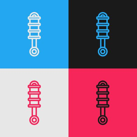 Color line Shock absorber icon isolated on color background. Vintage style drawing. Vector Illustration Ilustracja