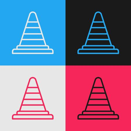Color line Traffic cone icon isolated on color background. Vintage style drawing. Vector Illustration
