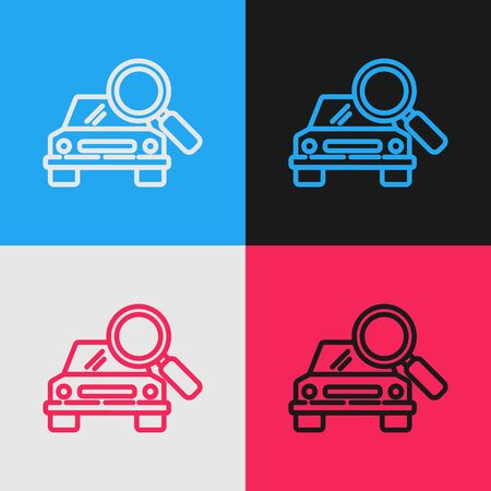 Color line Car search icon isolated on color background. Magnifying glass with car. Vintage style drawing. Vector Illustration Illusztráció